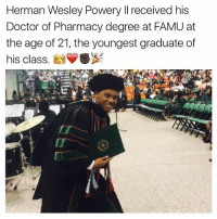 Doctor, Memes, and Pharmacy: Herman Wesley Powery I received his  Doctor of Pharmacy degree at FAMU at  the age of 21, the youngest graduate of  his class. SBA