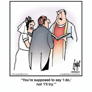 """Laughingstock: HERMAN  www.LaughingStock.com  O LaughingStock Licensing Inc.  """"You're supposed to say I do,""""  not l'll try."""""""