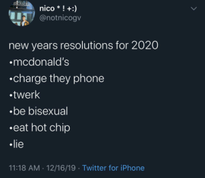 me irl by averagefuckboy MORE MEMES: HERMES  nico * ! +:)  IT @notnicogv  new years resolutions for 2020  •mcdonald's  •charge they phone  •twerk  •be bisexual  •eat hot chip  • lie  11:18 AM · 12/16/19 · Twitter for iPhone me irl by averagefuckboy MORE MEMES