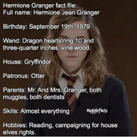 Gryffindor, Hermione, and Memes: Hermione Granger fact file:  Full name: Hermione Jean Granger  Birthday: September 19th, 1979  Wand: Dragon heartstring 10 and  three-quarter inches, vine wood  House: Gryffindor  Patronus: Otter  Parents: Mr. And Mrs. Granger, both  muggles, both dentists  Skills: Almost everything  mugglefacts  Hobbies: Reading, campaigning for house  elves rights qotd : who do you think i'll be posting a fact file of next? fc: 70,7k