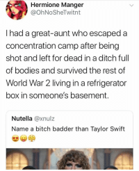 That's the baddest bitch of em all: Hermione Manger  @OhNoSheTwitnt  I had a great-aunt who escaped a  concentration camp after being  shot and left for dead in a ditch ful  of bodies and survived the rest of  World War 2 living in a refrigerator  box in someone's basement  Nutella @xnulz  Name a bitch badder than Taylor Swift That's the baddest bitch of em all