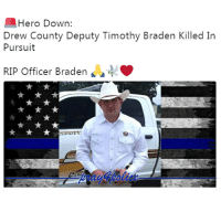 Drew County Deputy Sheriff Timothy Braden, age 29, was killed in a traffic crash on Thursday morning, August 24, during a vehicle pursuit. The incident occurred when Deputy Braden attempted to stop a vehicle operated by Samuel Vincent. Sheriff Timothy Braden leaves behind a wife, Alyssa and four children, Drake, Mallory, Adilynn and Sophie. Our thoughts and prayers are with the Braden family during this very difficult time. Like my posts? Follow my partners @back.the.badge @veterans_сome_first police cop cops thinblueline lawenforcement policelivesmatter supportourtroops BlueLivesMatter AllLivesMatter brotherinblue bluefamily tbl thinbluelinefamily sheriff policeofficer backtheblue: Hero Down:  Drew County Deputy Timothy Braden Killed In  Pursuit  RIP Officer Braden  4 Drew County Deputy Sheriff Timothy Braden, age 29, was killed in a traffic crash on Thursday morning, August 24, during a vehicle pursuit. The incident occurred when Deputy Braden attempted to stop a vehicle operated by Samuel Vincent. Sheriff Timothy Braden leaves behind a wife, Alyssa and four children, Drake, Mallory, Adilynn and Sophie. Our thoughts and prayers are with the Braden family during this very difficult time. Like my posts? Follow my partners @back.the.badge @veterans_сome_first police cop cops thinblueline lawenforcement policelivesmatter supportourtroops BlueLivesMatter AllLivesMatter brotherinblue bluefamily tbl thinbluelinefamily sheriff policeofficer backtheblue