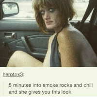 😂😂😂 yall dont stop: hero tox3  5 minutes into smoke rocks and chill  and she gives you this look 😂😂😂 yall dont stop