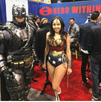 Batman, Friends, and Hello: HERO WITH Good afternoon Gothamites and greetings from @Wondercon in Anaheim! I'm walking the convention floor and about to attend some panels, but please check out my friends at @herowithininc and some of my favorite DC cosplayers @brucewayne626 and @wonderwoman_xoxo! They will be at Booth 222 today and tomorrow from 11am to 1pm so visit and say hello! If you see me walking around (I'm wearing a History of the Batman tshirt, can't miss me!) please say hello! Thanks for following and we'll have more History of the Batman soon! ✌🏼💙🦇✨