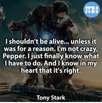 ▲Quotes▲ - Tony Stark from Iron Man 1! - My other IG accounts @factsofflash @yourpoketrivia @webslingerfacts ⠀⠀⠀⠀⠀⠀⠀⠀⠀⠀⠀⠀⠀⠀⠀⠀⠀⠀⠀⠀⠀⠀⠀⠀⠀⠀⠀⠀⠀⠀⠀⠀⠀⠀⠀⠀ ⠀⠀--------------------- batmanvssuperman xmen batman superman wonderwoman deadpool spiderman hulk thor ironman marvel captainmarvel theflash wolverine daredevil aquaman justiceleague youngjustice blackpanther greenlantern starwars captainmarvel batmanvsuperman captainamerica homecoming logan nova like4like brucewayne: HEROES  I shouldn't be alive... unless it  was for a reason. I'm not crazy,  Pepper. I just finally know what  I have to do. And know in my  heart that it's right.  Tony Stark ▲Quotes▲ - Tony Stark from Iron Man 1! - My other IG accounts @factsofflash @yourpoketrivia @webslingerfacts ⠀⠀⠀⠀⠀⠀⠀⠀⠀⠀⠀⠀⠀⠀⠀⠀⠀⠀⠀⠀⠀⠀⠀⠀⠀⠀⠀⠀⠀⠀⠀⠀⠀⠀⠀⠀ ⠀⠀--------------------- batmanvssuperman xmen batman superman wonderwoman deadpool spiderman hulk thor ironman marvel captainmarvel theflash wolverine daredevil aquaman justiceleague youngjustice blackpanther greenlantern starwars captainmarvel batmanvsuperman captainamerica homecoming logan nova like4like brucewayne