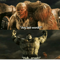 "Memes, Last Words, and Thanos: @heroes ig  ""Any last words?  ""Hulk...smash!"" @everything_but_dc - Abomination nerd geek marvel avengers ironman captainamerica spiderman doctorstrange thor hulk disney mcu guardiansofthegalaxy thanos groot comics abomination dc batman superman wonderwoman flash justiceleague anime starwars thewalkingdead"