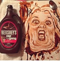 Memes, Chocolate, and Sugar: HERSHEY S  SYRUP  45  PER 1 TBSP  SAT FAT  SODIUM SUGARS  SERVING  GENUINE  CHOCOLATE FLAVOR  FAT FREE helenhorbath drawn in chocolate. ❤️😻This is amazing. Thank you @john_jansky ・・ helphelensmash