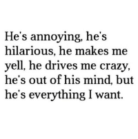 Crazy, Http, and Hilarious: He's annoying, he's  hilarious, he makes me  yell, he drives me crazy,  he's out of his mind, but  he's everything I want. http://iglovequotes.net/