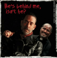 The only thing that scares Negan.   Walking Dead Funny Pages: He's behind me,  isn't he?  WALKING DEAD FUNNY PAGES  ee The only thing that scares Negan.   Walking Dead Funny Pages