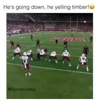 Memes, 🤖, and Timber: He's going down, he yelling timber!  @Sportsviness Lmao @sportsviness