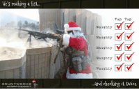 naughtiness: He's making a list  GRUNT WORKS  11b  Tap Tap  V V  Naughty  Naughty  Naughty  Naughty  V V  Naughty  and checking it twice.