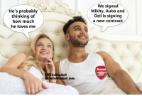 Arsenal, Memes, and 🤖: He's probably  thinking of  how much  he loves me  We signed  Mikhy, Auba and  Özil is signing  a new contract  Arsenal  TrollFootball  eTrollFootball Insta Arsenal fans right now https://t.co/77BFVpIEA5