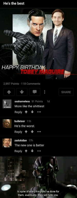 He was right: He's the best  HAPPY BIRTHDAY  TOBEY MAQUIRE  2,997 Points 118 Comments  SHARE  xxshameless 91 Points 1d  OURKE More like the shittiest  Reply  bulleteer 11h  He's the worst.  Reply  zadokidan 17h  The new one is better  Reply..  In spite of everything yo  them, eventually they will hate you  u've done fo He was right