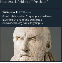 "Memes, Wikipedia, and Wiki: He's the definition of ""l'm dead""  Wikipedia @Wikipedia  Greek philosopher Chrysippus died from  laughing at one of his own jokes.  en.wikipedia.org/wiki/Chrysippus Probably a stolen Egyptian joke 😂😂😂 AncientGreece Egypt2PointZero Foundation Empire"