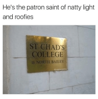 Chill blessings be upon you bro: He's the patron saint of natty light  and roofies  ST CHAD'S  COLLEGE  8 NORTH BAILEY  @dabmoms Chill blessings be upon you bro