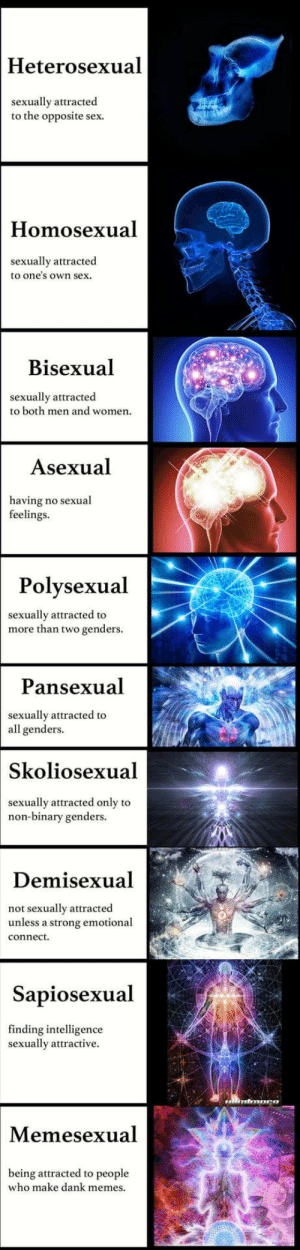 Dank, Memes, and Sex: Heterosexual  sexually attracted  to the opposite sex.  Homosexual  sexually attracted  to one's own sex.  Bisexual  sexually attracted  to both men and womern  Asexual  having no sexual  feelings  Polysexual  sexually attracted to  more than two genders.  Pansexual  sexually attracted to  all genders.  Skoliosexual  sexually attracted only to  non-binary genders.  Demisexual  not sexually attracted  unless a strong emotional  Sapiosexual  finding intelligence  sexually attractive.  Memesexual  being attracted to people  who make dank memes Find your sexuality.  Apache sexuality not included
