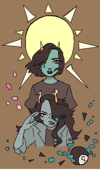 heterosexualjohnegbert:  hauntingrefrain: an eye for an eye [image description; a drawing of vriska serket and terezi pyrope from homestuck atop a solid light brown background. vriska, blood streaming out of her left eye, is frowning and raising two fingers to her forehead while a broken 8-ball floats on the right of the drawing. its dripping light blue blood. behind her is terezi, teal tears coming out of light red eyes. the wind is making her hair flow. besides her are a couple of pink petals, and behind her is a big light yellow sun.]: heterosexualjohnegbert:  hauntingrefrain: an eye for an eye [image description; a drawing of vriska serket and terezi pyrope from homestuck atop a solid light brown background. vriska, blood streaming out of her left eye, is frowning and raising two fingers to her forehead while a broken 8-ball floats on the right of the drawing. its dripping light blue blood. behind her is terezi, teal tears coming out of light red eyes. the wind is making her hair flow. besides her are a couple of pink petals, and behind her is a big light yellow sun.]