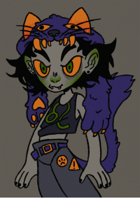 Fall, Head, and Target: heterosexualjohnegbert:  [image description; a flat color digital drawing of nepeta leijon from homestuck, cropped below the waist, atop a solid medium gray background. nepeta is a gray-skinned troll with flushed green cheeks, a small flushed green nose and flushed green ears. she has orange eyes and green pupils, thick eyebrows, small yellow fangs poking out of her mouth and a long fluffy purple tail. her hair is messy, neck-length and black. she is wearing a hat that is a purple cat head. the paws of the cat fall limply to the side, reaching below her shoulders. she is wearing a black tank top with her zodiac sign (leo) inscribed on it in green, and a pair of dark gray trousers held by a purple belt, sewn in with two orange pins. one is a triangle with an exclamation mark, the other is a circle with a paw print.]