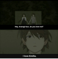 Anime, Bad, and Love: Hey, Araragi-kun, do you love me?  I love Emilia. I'm pandering to bad memes  oc pls donut steel