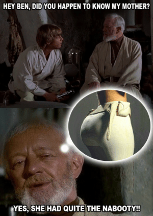 Quite, Yes, and Mother: HEY BEN, DID YOU HAPPEN TO KNOW MY MOTHER?  YES, SHE HAD QUITE THE NABOOTY! Obi-Wan Remembers..
