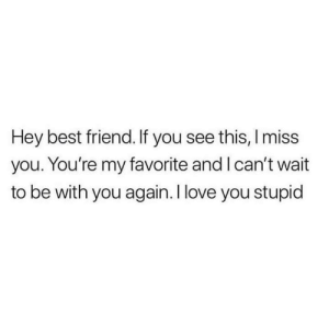 I Miss My Best Friend: Hey best friend. If you see this, I miss  you. You're my favorite and I can't wait  to be with you again.I love you stupid