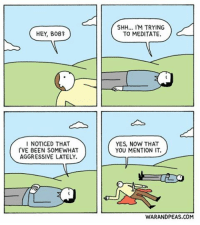 Meditation comic webcomic warandpeas meditation cartoon comics angerissues friendship friendshipgoals humor funny lol comedy yonkoma friend yoga yogachallenge comicstrip: HEY, BOB?  I NOTICED THAT  I'VE BEEN SOMEWHAT  AGGRESSIVE LATELY.  SHH... M TRYING  TO MEDITATE.  YES, NOW THAT  YOU MENTION IT.  WARANDPEAS.COM Meditation comic webcomic warandpeas meditation cartoon comics angerissues friendship friendshipgoals humor funny lol comedy yonkoma friend yoga yogachallenge comicstrip