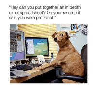 """Tumblr, Blog, and Excel: """"Hey can you put together an in depth  excel spreadsheet? On your resume it  said you were proficient."""" <p><a href=""""http://awesomesthesia.tumblr.com/post/173784988812/me-at-my-new-job"""" class=""""tumblr_blog"""">awesomesthesia</a>:</p>  <blockquote><p>Me at my new job 🐸☕️</p></blockquote>"""