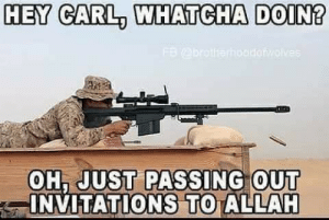 Terrible Facebook, Allah, and Carl: HEY CARL, WHATCHA DOIN?  FB@brotherhoodowolves  OH, JUST PASSING OUT  INVITATIONS TO ALLAH You're invited