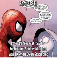 Memes, Spider, and SpiderMan: HEY,  COLLON'T SAVE  PETER PARKER  IN MINE  MAKE YOU  A PEAL  WHAT  SAY WE WATCH  OVER EACH  OTHER  SOUNDS  LIKE A PLAN.  Peter Parker was 15 when  he became Spider-Man and  was 19 when Gwen Stacudied do you guys like Spider-Gwen?