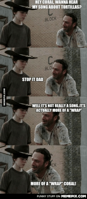 """Tortillas!omg-humor.tumblr.com: HEY CORAL, WANNA HEAR  MY SONG ABOUT TORTILLAS?  BLOCK  C,  BLO  STOP IT DAD  WELL IT'S NOT REALLY A SONG.IT'S  ACTUALLY MORE OF A """"WRAP""""  CK  MORE OF A """"WRAP"""" CORAL!  FUNNY STUFF ON MEMEPIX.COM  MEMEPIX.COM Tortillas!omg-humor.tumblr.com"""
