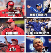 Nfl, Foreigner, and Tom Coughlin: HEY COUGHLIN, KNOCK,  KNOCK  FOREIGN!  WHO'S THERE  FOREIGN WHOEp! Andy Reid TROLLING Tom Coughlin