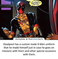Only Deadpool! ⠀_______________________________________________________ superman joker redhood martianmanhunter dc batman aquaman greenlantern ironman like spiderman deadpool deathstroke rebirth dcrebirth like4like facts comics justiceleague bvs suicidesquad benaffleck starwars darthvader marvel flash reverseflash professorzoom eobardthawne: HEY, CYCLOPS!  YOUR WORRIES ARE  OVER, BUDDY-.  I GOT THISI  INSTAGRAM TRUECOMICFACTS  Deadpool has a custom made X-Men uniform  that he made himself just in case he goes on  missions with them and other special occasions  with them Only Deadpool! ⠀_______________________________________________________ superman joker redhood martianmanhunter dc batman aquaman greenlantern ironman like spiderman deadpool deathstroke rebirth dcrebirth like4like facts comics justiceleague bvs suicidesquad benaffleck starwars darthvader marvel flash reverseflash professorzoom eobardthawne