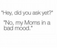 """Bad, Memes, and Moms: """"Hey, did you ask yet?""""  """"No, my Moms in a  bad mood. The struggle is real 🤷♀️😩"""