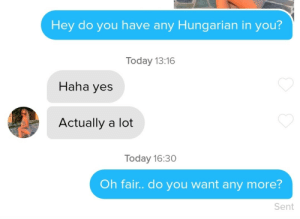 Today, Hungarian, and Haha: Hey do you have any Hungarian in you?  Today 13:16  Haha yes  Actually a lot  Today 16:30  Oh fair.. do you want any more?  Sent Got unmatched wish I knew why
