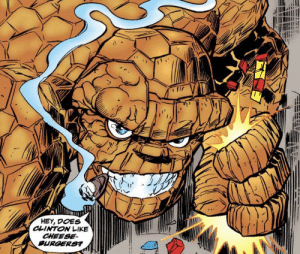 Ben Grimm asking the tough questions: HEY, DOES  CLINTON LIKE  CHEESE  BURGERS? Ben Grimm asking the tough questions