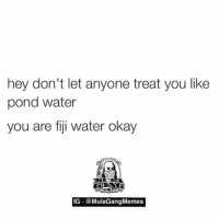 got it   LIKE my page —> Spectacular: hey don't let anyone treat you like  pond water  you are fiji water okay  IG @MulaGang Memes got it   LIKE my page —> Spectacular