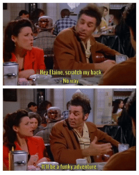 """""""Just one lap around."""" seinfeld thepie: Hey Elaine, scratch my back  No Way  It'll be a  funky adventure  a """"Just one lap around."""" seinfeld thepie"""