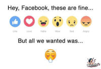 Sad Love: Hey, Facebook, these are fine.  Like  Wow  Sad  Love  Haha  Angry  But all we wanted was...