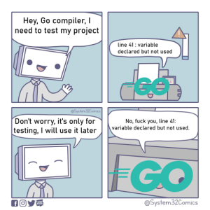 The first time I coded in Go: Hey, Go compiler,  need to test my project  line 41 variable  declared but not used  @System32Comics  Don't worry, it's only for  testing, I will use it later  No, fuck you, line 41:  variable declared but not used.  FGO  @System32Comics  WEB  TOON  f The first time I coded in Go