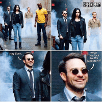 "Memes, 🤖, and Marvell: Hey Guys  DC  What  The Fuck  Are We  Looking At? Because ""Matt Murdock is Blind"" jokes never fail to make me laugh. 😂 TheDefenders via @dc.marvel.unite 👌🏾💯"
