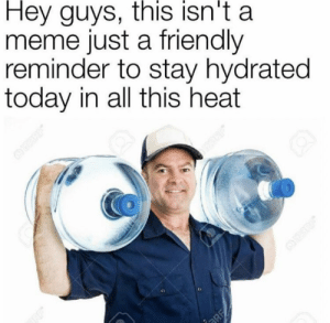 Meme, Memes, and Heat: Hey guys, this isn't a  meme just a friendly  reminder to stay hydrated  today in all this heat  BRE  23RE https://t.co/EDek751FQ6