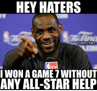 Lol.. King James literally Carried the Cavs DoubleTap and Tag friends: HEY HATERS  I WON A GAME 7 WITHOUT  ANY ALL-STAR HELF Lol.. King James literally Carried the Cavs DoubleTap and Tag friends