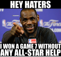 LeBron James literally carried the Cavs to the NBA Finals. https://t.co/g77Eo0kUGf: HEY HATERS  @NBAMEMES  na  TV  WON A GAME 7 WITHOuT  ANY ALL-STAR HELP LeBron James literally carried the Cavs to the NBA Finals. https://t.co/g77Eo0kUGf