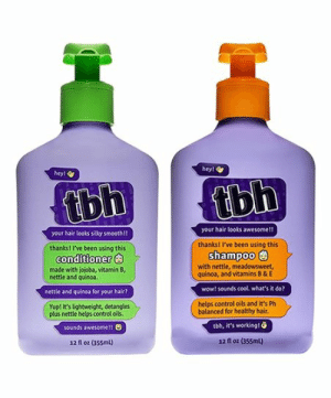 Smooth, Tbh, and Wow: hey!  hey!  tbh  tbh  your hair looks awesome!!  your hair looks silky smooth!!  thanks! I've been using this  shampoo  thanks! I've been using this  conditioner  with nettle, meadowsweet,  quinoa, and vitamins B & E  made with jojoba, vitamin B,  nettle and quincoa  wow! sounds cool. what's it do?  nettle and quinoa for your hair?  helps control oils and it's Ph  balanced for healthy hair.  Yup! It's Eightweight, detangles  plus nettle helps control oils.  tbh, it's working!  sounds awesomel!  12 floz (355ml)  12 fl oz (355ml) tbh
