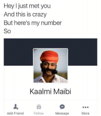 Crazy, Reddit, and Add: Hey I just met you  And this is crazy  But here's my number  So  Kaalmi Maibi  Add Friend  Follow  Message  More