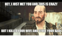 Crazy, Fallout 4, and Fallout: HEY, I JUST MET YOU AND THIS IS CRAZY  BUT I KILLED YOUR WIFE ANDSTOLE YOUR BABY