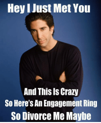 """1st marriage wife was gay not my fault. 2nd marriage said the wrong name of the wife at the alter, a little my fault"" - Ross Geller: Hey I Just Met You  And This Is Crazy  So Here's An Engagement Ring  So Divorce Me Maybe ""1st marriage wife was gay not my fault. 2nd marriage said the wrong name of the wife at the alter, a little my fault"" - Ross Geller"