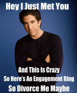 Crazy, Divorce, and Song: Hey I Just Met You  And This Is Crazy  So Here's An Engagement Ring  So Divorce Me Maybe Ross's Theme Song