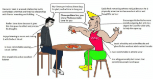 Virgin and Chad friendship: Hey I know you're busy these days,  I'm glad you had time to hang out  Easily finds romantic partners not just because he is  physically attractive but because he is a kind and  thoughtful partner  Has never been in a sexual relationship but is  comfortable with that and finds his relationships  with friends rewarding and fulfilling  Oh no problem bro, you  know l'll always make  time for you  Encourages his bud to be more  socially outgoing, but only to a  degree he's comfortable with,  to help him open up  Prefers time alone because it gives  him the space to reflect and process  his thoughts  Enjoys listening to music and sharing  it with his best friend  OUCH!  Leads a healthy and active lifestyle and  gives his bro workout advice when he asks  Is more comfortable wearing.  casual clothes  Is more comfortable in athletic wear  Very empathetic and an excellent  Has a big personality but knows that  sometimes people need space  listener Virgin and Chad friendship
