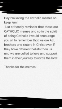 Journey, Love, and Memes: Hey I'm loving the catholic memes so  keep 'em!  just a friendly reminder that these are  CATHOLIC memes and so in the spirit  of being Catholic I would encourage  you all to remember that we are ALL  brothers and sisters in Christ even if  they have different beliefs than us  and we are called to love and support  them in their journey towards the lord!  Thanks for the memes!